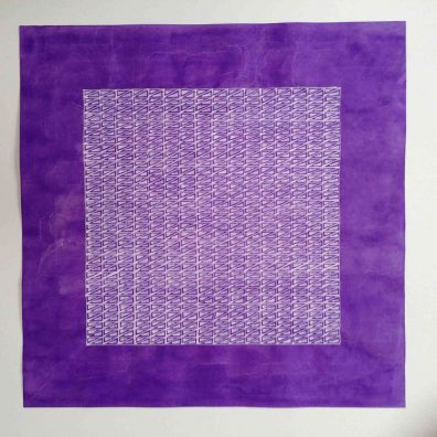 purple lace 1<br> 34-34cm<br>gouache on Chinese cotton paper<br> Price 800 euro